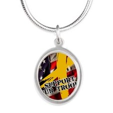 support troops button updates Silver Oval Necklace