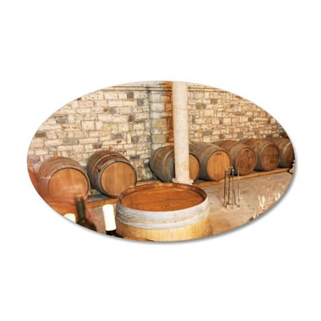 Oak barrels and bottles and  35x21 Oval Wall Decal