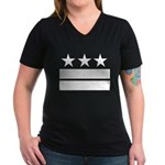 3 Stars 2 Bars Women's V-Neck Dark T-Shirt