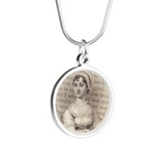 Jane Austen Portrait Silver Round Necklace