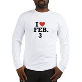 I Heart February 3 Long Sleeve T-Shirt