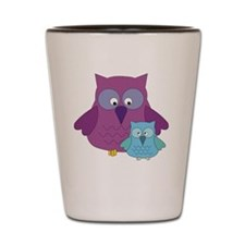 Mother Owl and Baby Boy Shot Glass