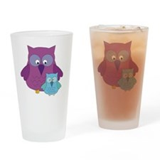 Mother Owl and Baby Boy Drinking Glass