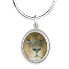 Lion pposter Silver Oval Necklace