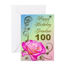 100th birthday card for grandma, Elegant rose Gree