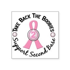 "- Take Back the Boobies Bre Square Sticker 3"" x 3"""