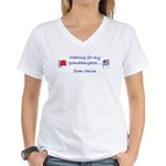 Waiting for my granddaughter. Women's V-Neck T-Shi