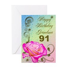 91st birthday card for grandma, Elegant rose Greet