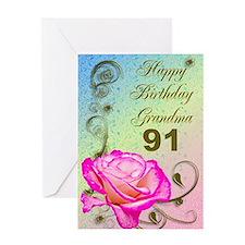 91st birthday card for grandma, Elegant rose Greet