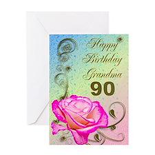 90th birthday card for grandma, Elegant rose Greet