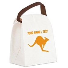 Custom Orange Kangaroo Canvas Lunch Bag