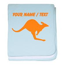 Custom Orange Kangaroo baby blanket