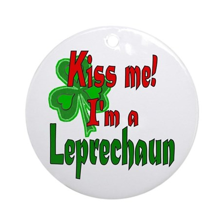 Kiss Me Leprechaun Ornament (Round)