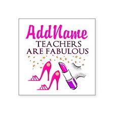 "BEST TEACHER Square Sticker 3"" x 3"""