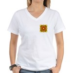 Brown Shield Design Women's V-Neck T-Shirt