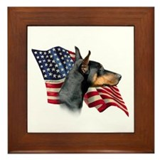 Doberman Flag Framed Tile