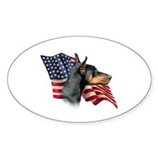 Doberman Flag Oval Decal