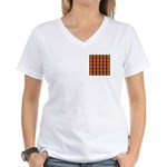 Orange & Yellow Latticework Women's V-Neck T-Shirt
