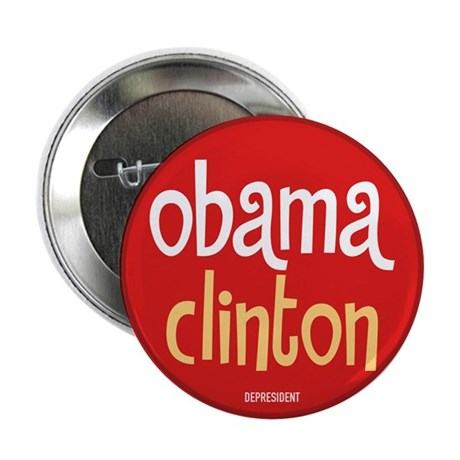 Obama Clinton Button