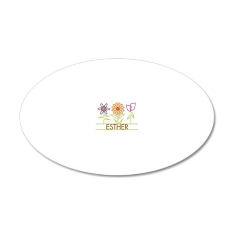 ESTHER-cute-flowers 20x12 Oval Wall Decal