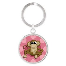 Monkey Me Pink Love  circle Round Keychain