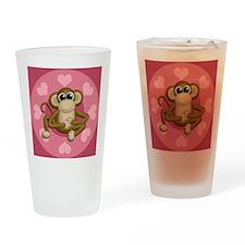 Monkey Me Pink Love Drinking Glass