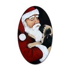 Santa and Mastiff Puppy 35x21 Oval Wall Decal