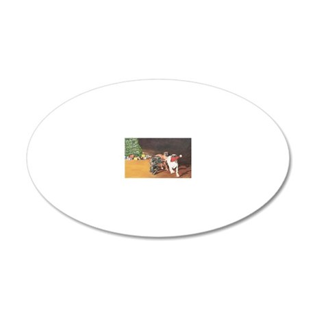 Puppies Chasing Santa Hat 20x12 Oval Wall Decal