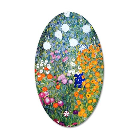 441 Klimt Flowers 35x21 Oval Wall Decal