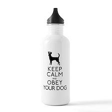 blackandwhite_obey Sports Water Bottle