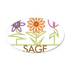 SAGE-cute-flowers Oval Car Magnet