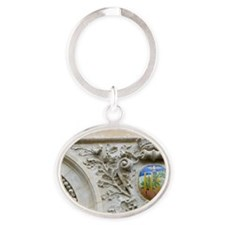 France, Paris, relief sculpture on b Oval Keychain
