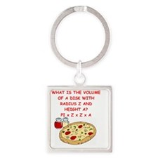 math pizza joke Square Keychain
