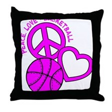 P,L,Basketball, hot pink Throw Pillow