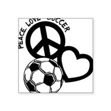 "P,L,Soccer, black Square Sticker 3"" x 3"""