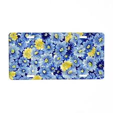 1.04_BLUE-DAISIES Aluminum License Plate