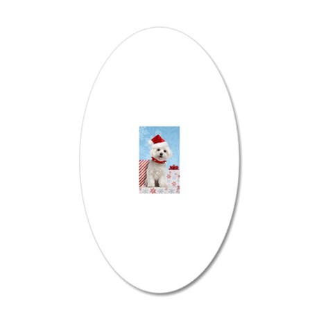 maltesechristmasfront 20x12 Oval Wall Decal