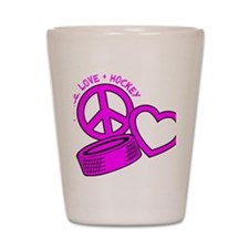 P,L,Hockey, hot pink2 Shot Glass