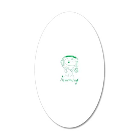 Jamming Green 20x12 Oval Wall Decal