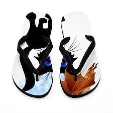 Black Halloween Kitty and Bat Trans Flip Flops