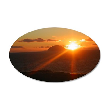 sunset behind Ailsa Craig 35x21 Oval Wall Decal