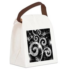 Silver Glitter Swirl Canvas Lunch Bag