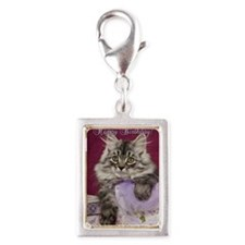 Birthday Card Front Silver Portrait Charm