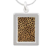 443 Cheetah Silver Portrait Necklace
