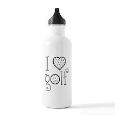 I love golf, white gre Water Bottle