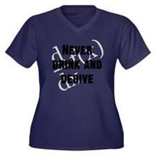 Drink-and-de Women's Plus Size Dark V-Neck T-Shirt