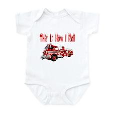 How I Roll- Fire Truck Infant Bodysuit
