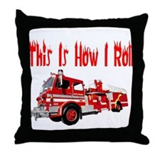 How I Roll- Fire Truck Throw Pillow