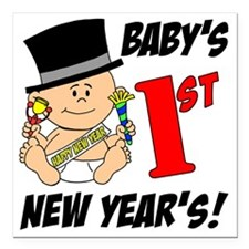 """Babys First New Years Square Car Magnet 3"""" x 3"""""""