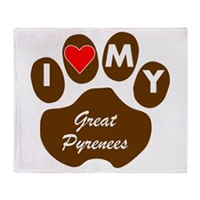 I Heart My Great Pyrenees Throw Blanket